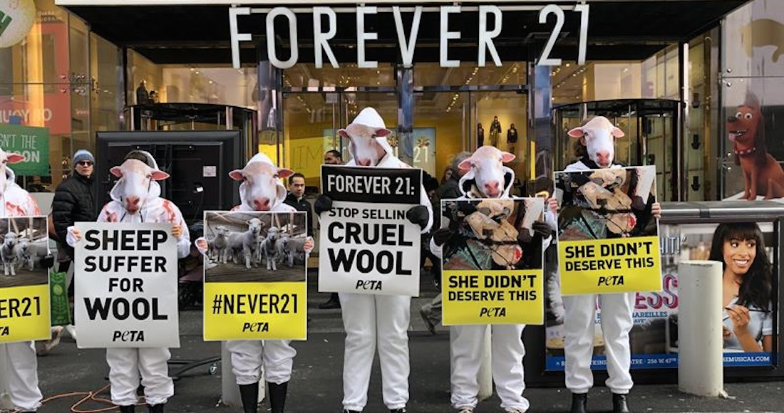 743f142b42 VIDEO  Peta protesta en NY contra Forever 21 por