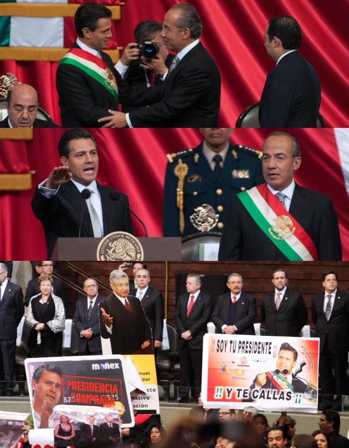 Durante su toma de protesta, Enrique Peña Nieto encaró la protesta de legisladores. Foto: Cuartoscuro