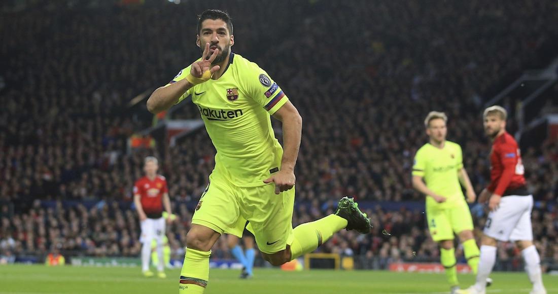 fc9ebd5b7f15e Luis Suárez del Barcelona tras el primer gol del equipo en el partido ante  Manchester Unite. Foto  AP