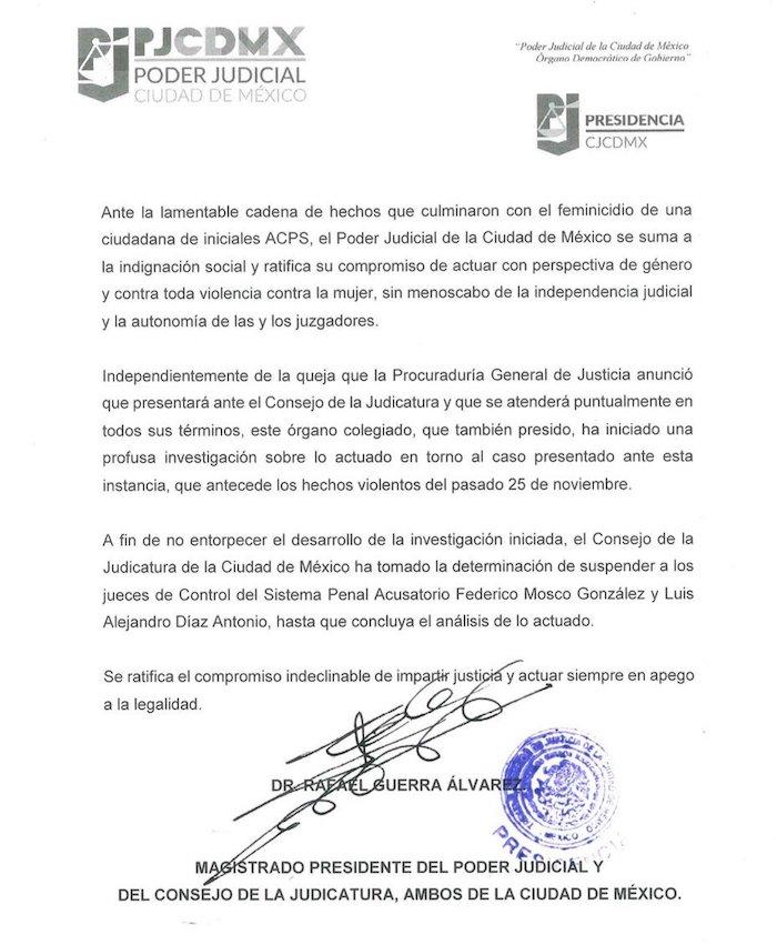 El Poder Judicial suspende a dos jueces por liberar a Juan Carlos, el presunto feminicida de Abril