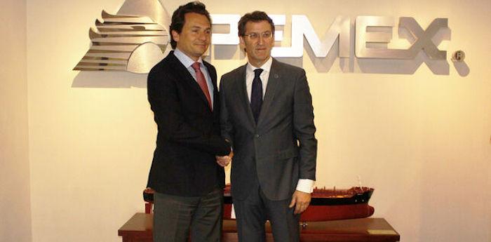 Feijóo y Lozoya en instalaciones de Pemex en Ciudad de México en 2014. Foto: Xunta