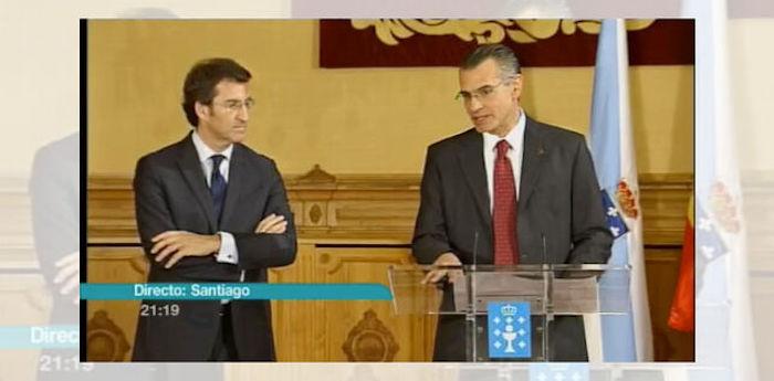La Televisión de Galicia emite en directo la firma del acuerdo de la Xunta con Pemex en mayo de 2012. Foto: ElDiario.es
