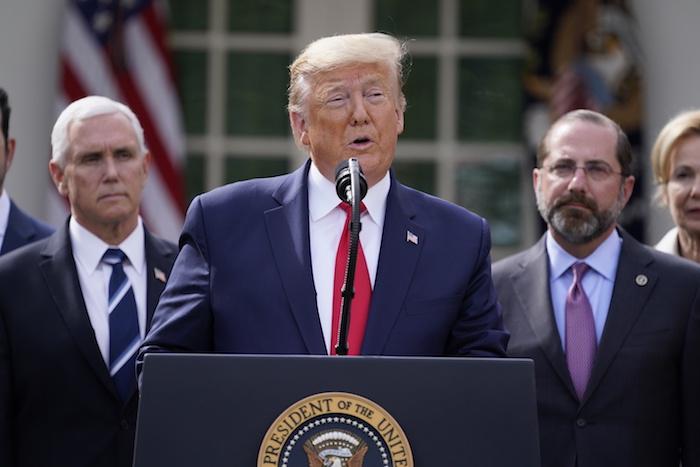 El Presidente de Estados Unidos, Donald Trump, interviene durante una conferencia de prensa sobre el coronavirus en el Rose Garden de la Casa Blanca, el 13 de marzo de 2020, en Washington. Foto: Evan Vucci, AP