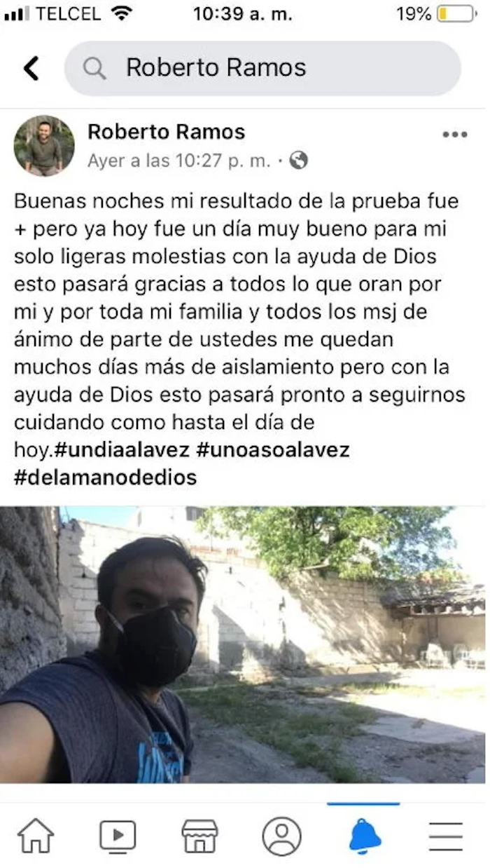 Enfermero mexicano con COVID-19.