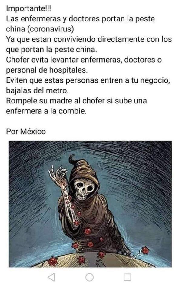 Imagen compartida en redes en contra de las enfermeras y doctores. Foto: Facebook