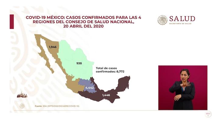 Mapa de los casos confirmados de COVID-19 en las cuatro regiones del Consejo de Salubridad General.