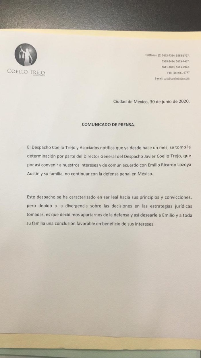 Imagen del comunicado donde se da a conocer que Javier Coello Trejo abandona la defensa de Emilio Lozoya.