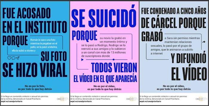 Carteles de la campaña para dar a conocer el Canal Prioritario.