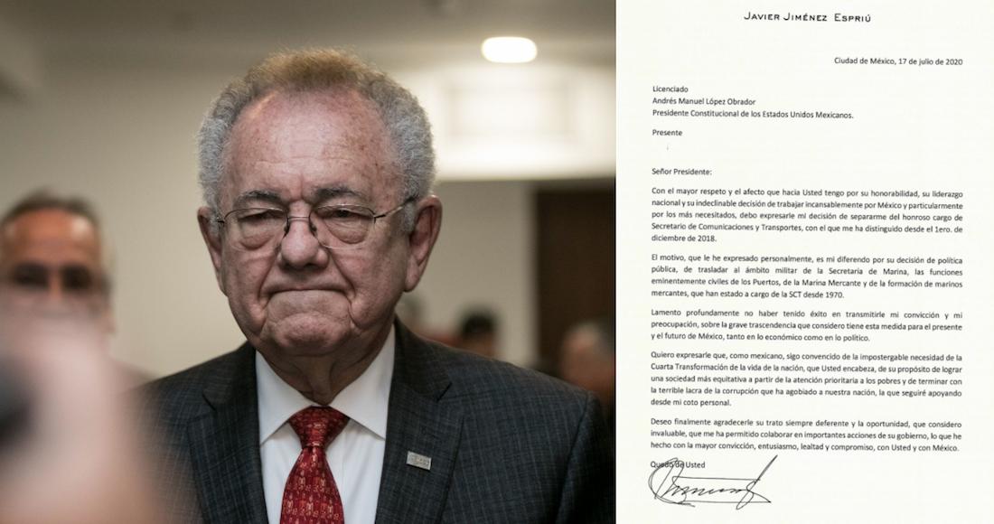 Jiménez Espriú dice a AMLO, en su renuncia, que no está de acuerdo en darle más poder a la Marina