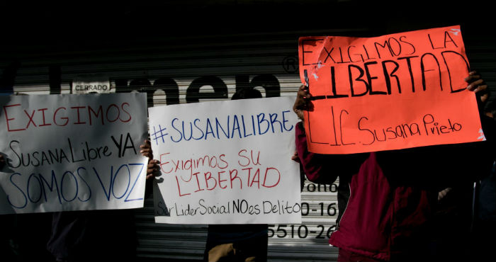Colectivos se dieron cita a las afueras de la Comisión Nacional de Derechos Humanos (CNDH) para expresar su apoyo a la activista Susana Prieto Terrazas, detenida el pasado 8 de junio de 2020 en Matamoros, Tamaulipas.