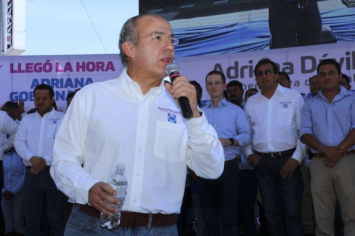 El expanista Felipe Calderón desde un evento en Tlaxcala, celebrado en mayo de 2016.