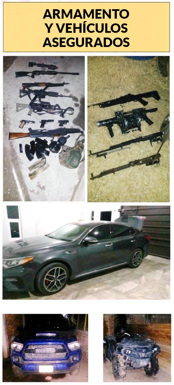 Imágenes de las armas y los vehículos decomisados.