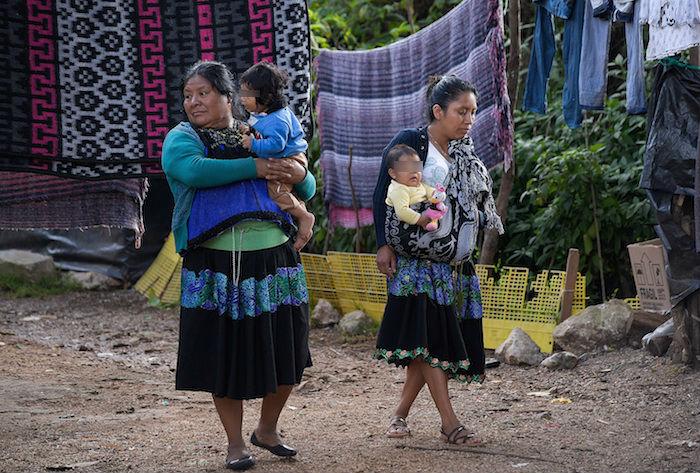 Fotografía de mujeres tzotziles con su hijos el 8 de agosto de 2020 en San Cristóbal de las Casas en el estado de Chiapas (México).