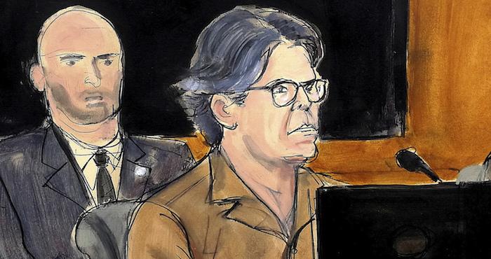 Bosquejo artístico de 2018 de Keith Raniere, líder del grupo NXIVM, durante una audiencia judicial en Brooklyn, Nueva York.